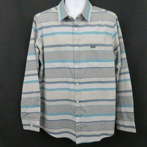 Quiksilver New Turquoise Blue Gray Stripe Shirt